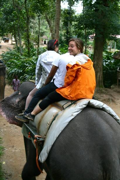 Francesca Moree on an elephant in Kerala