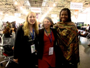 [Left to right] Hannah Lewis '13, Cynthia Jaggi '00, and Oladoyin Oladapo '14 at SOCAP14