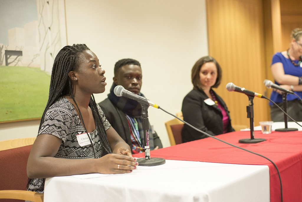 Chelsea Tweneboah '15 of Cape Coast Regional Hospital in Ghana ; Shadrack Frimpong of Healthy Africa; and Tiffany Aquino of Unite for Sight participated in a healthcare panel during the Africa Innovation Summit. The talk was moderated by Laura Ann Twagira, assistant professor of history.