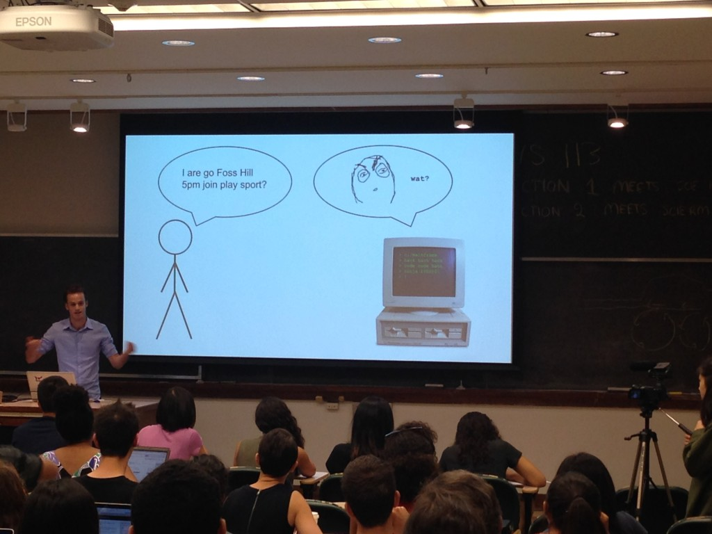 During the WesHack Bootcamp, Julian Applebaum '13 explained that human language can be imprecise but computer language cannot.