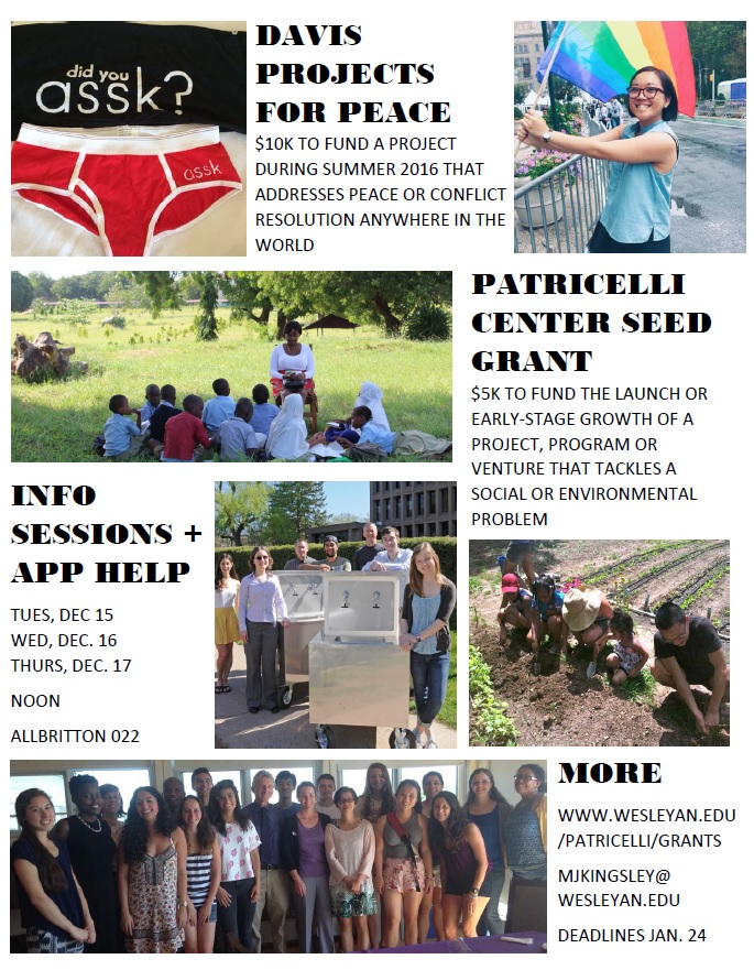 2016 Seed Grant and Davis Projects for Peace poster