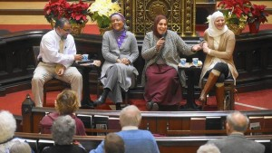 """The Middletown Refugee Resettlement Coalition organized Thursday night's """"Honest Conversations with your Muslim Neighbors"""" forum at First Church of Christ. From left, Reza Mansoor, Linda Miller, Feryal Salem and Maryam Bitar field questions from the audience. (Brad Horrigan)"""