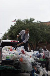 Campaigners unload toxic trash outside Novolex HQ.