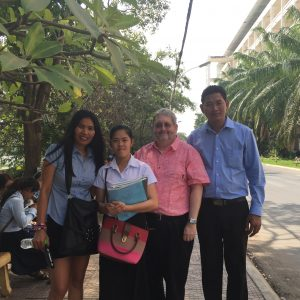 Nan Nop, Manouv (our first Chelly Scholarship student at the Royal U. of Phnom Penh), Jason, and Ess.