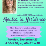 2019/2020 JCCP Mentor in Residence Meet-and-Greet with Dr. Rosemary Ostfeld '10