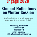 E2020 Reception: Student Reflections on Winter Session Experiences