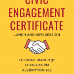 Civic Engagement Certificate Spring 2020 Info Session + Lunch